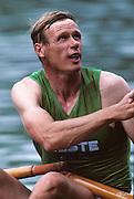 Lucerne, SWITZERLAND   Bronze medalist, FIN M1X, Pertti KARPPINEN. 1992 FISA World Cup Regatta, Lucerne. Lake Rotsee.  [Mandatory Credit: Peter Spurrier: Intersport Images] 1992 Lucerne International Regatta and World Cup, Switzerland