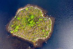 Aerial view of small island on  Loch Ba on Rannoch Moor in summer, Scotland, UK