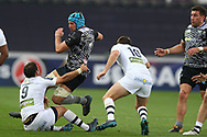 Justin Tipuric of the Ospreys © is stopped by Morgan Parra of Clermont Auvergne (9). European Rugby Champions Cup, pool 2 match, Ospreys v ASM Clermont Auvergne at the Liberty Stadium in Swansea, South Wales on Sunday 15th October 2017.<br /> pic by  Andrew Orchard, Andrew Orchard sports photography.