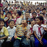 Primary school children at morning assembly in Vinh, Vietnam, Southeast Asia