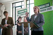 Leader of the Green Party Natalie Bennett and MP Caroline Lucas at the press lauch of the party's elections mainfesto in East London, UK.
