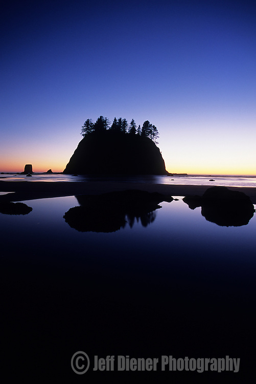 Seastacks and tidepools stand along the wilderness coast of Olympic National Park, Washington.