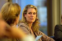"""26 APR 2004, BERLIN/GERMANY:<br /> Dr. Silvana Koch-Mehrin, FDP Spitzenkandidatin zur Europawahl, waehrend einer Podiumsdiskussion, Kongress """"Politik als Marke - Politik zwischen Kommunikation und Inszenierung"""", ein Projekt der Politikfabrik, dbb Forum Berlin<br /> IMAGE: 20040426-02-224"""
