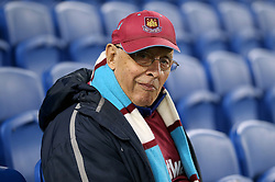 A West Ham United fan in the stands prior to match kick off