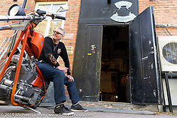 Bikers headed to the Twin Club Bike Show in Norrtälje stop at the Plebs MC Clubhouse near Stockholm, Sweden. Friday, May 31, 2019. Photography ©2019 Michael Lichter.