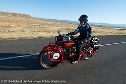 Jim Petty riding his 1927 Indian Chief on interstate-70 after leaving Grand Junction on the morning of stage 11 (289 miles) of the Motorcycle Cannonball Cross-Country Endurance Run, which on this day ran from Grand Junction, CO to Springville, UT., USA. Tuesday, September 16, 2014.  Photography ©2014 Michael Lichter.