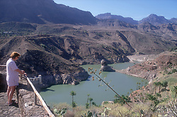 Reservoir in Gran Canaria; Canary Islands; seen from Mirador La Sorrueda Spain,
