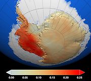Red represents areas where temperatures have increased the most during the last 50 years, particularly in West Antarctica, while dark blue represents areas with a lesser degree of warming. Temperature changes are measured in degrees Celsius