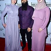Nailah, Rizwan Wadan and Nina of Error in Terror attend TriForce Short Festival, on 30 November 2019, at BFI Southbank, London, UK.