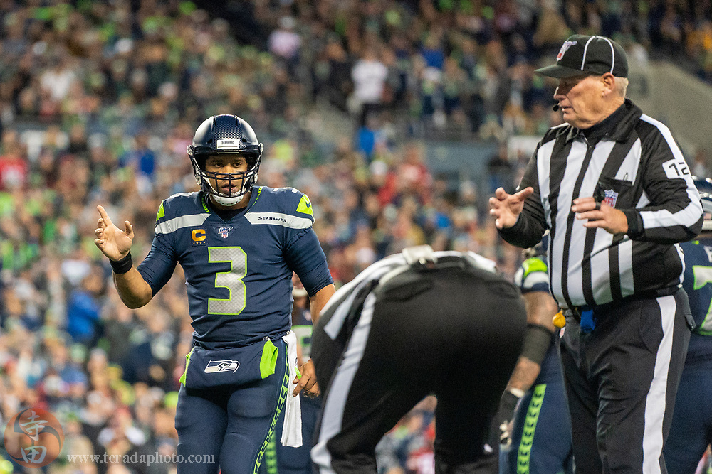 December 29, 2019; Seattle, Washington, USA; Seattle Seahawks quarterback Russell Wilson (3) during the fourth quarter against the San Francisco 49ers at CenturyLink Field.