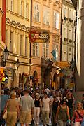 Czeck Republic - Prague , visitors crowd Karlova, the main thourghfare to the Charles bridge.