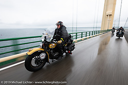 Kansan Terry Richardson riding his 1946 Harley-Davidson FL Knucklehead across during the Cross Country Chase motorcycle endurance run from Sault Sainte Marie, MI to Key West, FL. (for vintage bikes from 1930-1948). Stage 1 from Sault Sainte Marie to Ludington, MI USA. Friday, September 6, 2019. Photography ©2019 Michael Lichter.