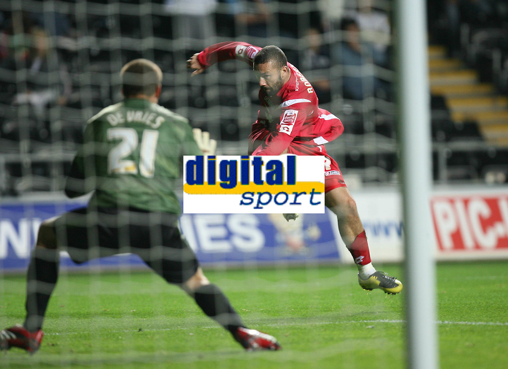 Photo: James Davies.<br />Swansea City v Swindon Town. Coca Cola League 1. 02/10/2007. <br />Swindon`s Christian Roberts shoots past `keeper Dorus de Vries to score equalizer.