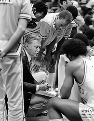 Golden State Warrior coach John Bach on the sideline.<br />(1982 photo/Ron Riesterer)