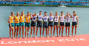 Eton Dorney, Windsor, Great Britain,..2012 London Olympic Regatta, Dorney Lake. Eton Rowing Centre, Berkshire.  Dorney Lake.  ..Men's Fours Medal's AUS M4- Silver Medalist, GBR M4- Gold Medalist and USA M4- Bronze Medalist...12:08:57  Saturday  04/08/2012 [Mandatory Credit: Peter Spurrier/Intersport Images]