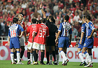 LISBOA 17 OCTOBER  2004: NUNO GOMES #21 receives the red card after an aggression to PEPE #7, in the, 6¼ leg of the Super Liga, season 2004/2005, match SL Benfica v  FC Porto, held in Luz stadium, 17/10/2004  19:45<br />(PHOTO BY: NUNO ALEGRIA / AFCD)