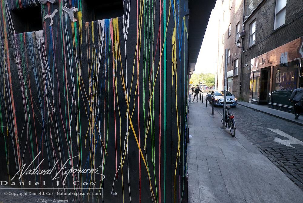 Street scenes of the Temple Bar District, Dublin, Ireland.
