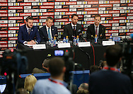 England's Andy Walker (Head of communications), Martin Glenn (Chief Executive), Gareth Southgate (Manager) and Dan Ashworth (Technical Director) look on during the press conference at Wembley Stadium, London. Picture date December 1st, 2016 Pic David Klein/Sportimage