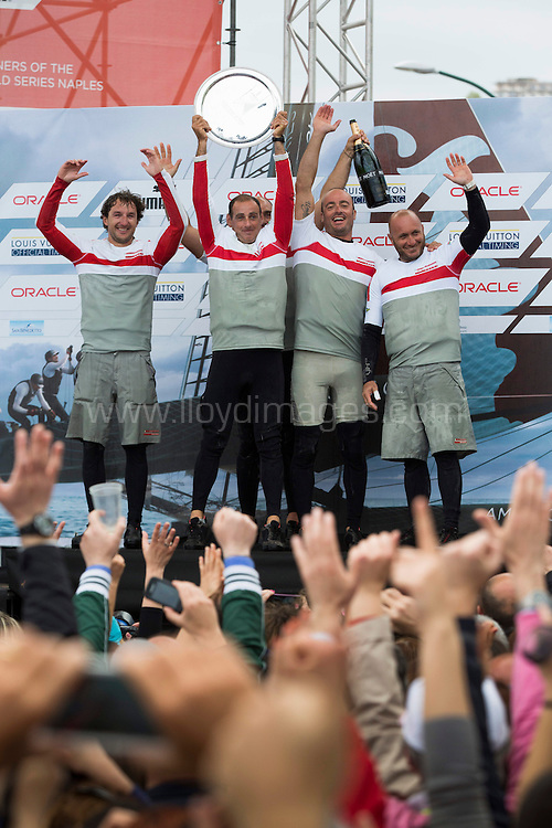 America's Cup World Series Naples/ ACWS Naples. Italy. Day 4 of racing - Luna Rossa Swordfish skippered by Francesco Bruni (ITA) celebrate after winning the fleet racing series in Naples.Please credit: Lloyd Images