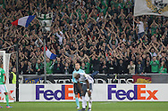 Saint-Etienne fans clap during the Europa League match between Saint-Etienne and Manchester United at Stade Geoffroy Guichard, Saint-Etienne, France on 22 February 2017. Photo by Phil Duncan.