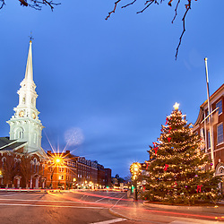 Early morning in Market Square, Portsmouth, New Hampshire.