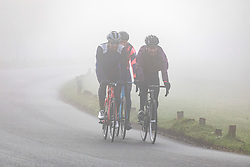 © Licensed to London News Pictures. 05/02/2020. London, UK. A foggy start for cyclists and drivers this morning in Richmond Park as weather experts predict more fog followed by high winds and heavy rain for the weekend. Photo credit: Alex Lentati/LNP