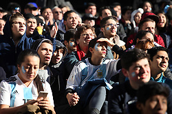June 16, 2018 - Buenos Aires, Buenos Aires, Argentina - Russia 2018 Soccer World Cup. Argentine fans watch football game against Iceland on a giant screen installed by the Government of the City of Buenos Aires. (Credit Image: © Claudio Santisteban via ZUMA Wire)