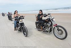 Deneille Basualdo (L) and Kissa Von Addams riding on Daytona Beach during Daytona Bike Week 75th Anniversary event. FL, USA. Thursday March 3, 2016.  Photography ©2016 Michael Lichter.