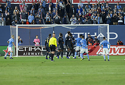 October 31, 2018 - New York, New York, United States - Andre Blake (18) saves after David Villa (7) of NYCFC kicked ball during knockout round game between NYCFC & Philadelphia Union at Yankees stadium NYCFC won 3 - 1  (Credit Image: © Lev Radin/Pacific Press via ZUMA Wire)