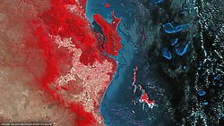 Jul 5, 2016 - Australia - Great Barrier Reef Australia. The Great Barrier Reef is the world's largest coral reef system composed of over 2,900 individual reefs and 900 islands stretching for over 2,300 kilometres (1,400 mi) over an area of approximately 344,400 square kilometres (133,000 sq miles). The reef is located in the Coral Sea, off the coast of Queensland, Australia. (Credit Image: ? Airbus DS/Airbus DS via ZUMA Wire/ZUMAPRESS.com)