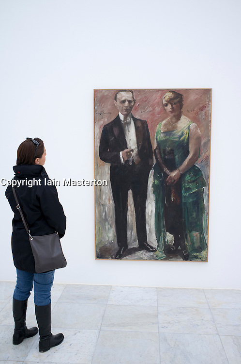 Woman looking at painting in Kulturraum or Culture room at Museum Hombroich at Neuss in Germany