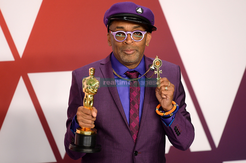 """Spike Lee, winner of the Best Adapted Screenplay Award for """"BlacKkKlansman"""" at the 91st Annual Academy Awards (Oscars) presented by the Academy of Motion Picture Arts and Sciences.<br /> (Hollywood, CA, USA)"""