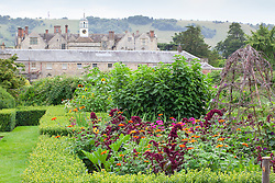 The parterre beds at Parham House with Amaranthus paniculatus 'Red Fox', Tithonia rotundifolia 'Torch' and Courgette 'Green Bush'