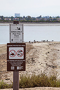 Birds Only warning sign, Bolsa Chica Ecological Reserve, Orange County, California, USA