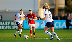 Frankie Brown of Bristol City gets past Hanna Godfrey of Tottenham Hotspur Women- Mandatory by-line: Nizaam Jones/JMP - 27/10/2019 - FOOTBALL - Stoke Gifford Stadium - Bristol, England - Bristol City Women v Tottenham Hotspur Women - Barclays FA Women's Super League