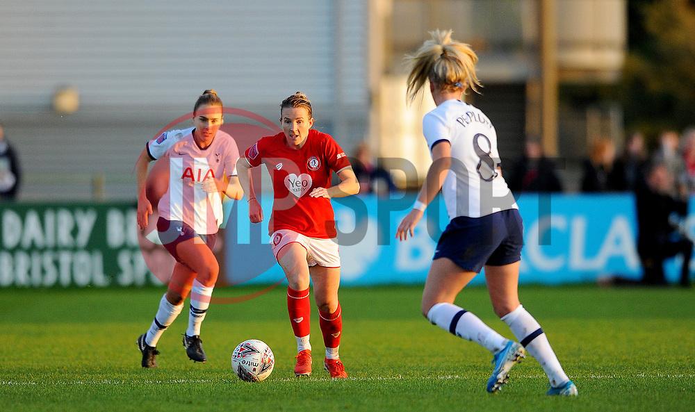 Frankie Brown of Bristol City gets past Hanna Godfrey of Tottenham Hotspur Women- Mandatory by-line: Nizaam Jones/JMP - 27/10/2019 - FOOTBALL - Stoke Gifford Stadium - Bristol, England - Bristol City Women v Tottenham Hotspur Women - Barclays FA Women's Super League