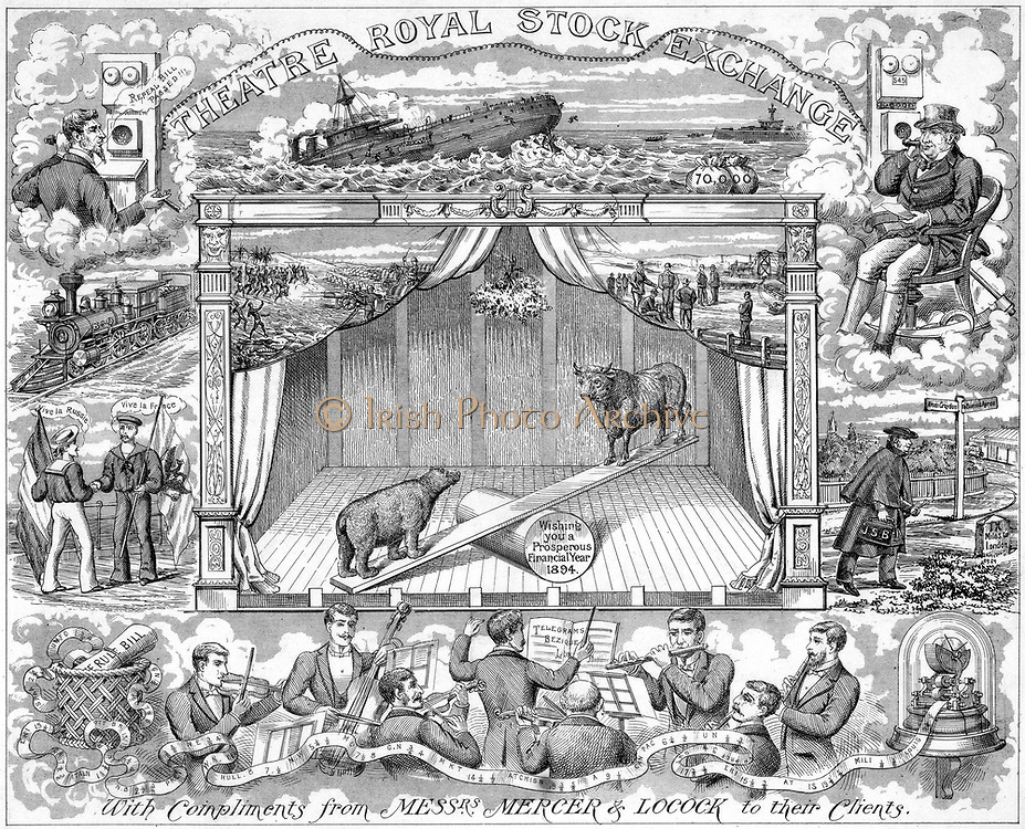 Stock Markets: International links by telegraph and telephone. New Year greetings from Mercer Locock to their clients 1894