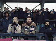 Supporters during the Dulwich Hamlet FC vs Worthing FC at Imperial Fields KNK Stadium on 18th March 2018 in South London in the United Kingdom. Fellow South London and Bostik league team, Tooting and Mitcham United agreed to host Dulwich Hamlet for their last few games of the season in the event that they are unable to continue playing at Champion Hill due to being evicted by landlords Meadow Residential.