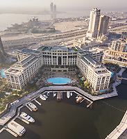 DUBAI, U.A.E - 17 OCTOBER 2017 : Aerial view of a luxurious resort close by the canal in Dubai.
