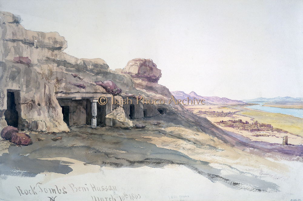 Rock Tombs Beni Hussan', 1863.  Charles Vacher (1818-1883), British artist.  Ancient Egypt Archaeology Ruins Death Burial
