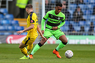 Forest Green Rovers Tahvon Campbell(14) on the ball during the The FA Cup 1st round match between Oxford United and Forest Green Rovers at the Kassam Stadium, Oxford, England on 10 November 2018.