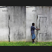 Humorous New Site-Specific Paintings on the Streets of Paris by Pejac<br /> <br /> Street artist Pejac was recently in Paris where he created at least three new works almost guaranteed to make you smile. The first appears to be a figure throwing a water balloon at a wall, but on closer inspection the giant splat contains a painting of Manet's famous The Luncheon on the Grass. The second involves a pair of children who appear to be burning ants with a magnifying glass in a spot of sunlight, but once viewed close-up the tiny figures are revealed to be small people instead of insects. Lastly he made use of a thick wall crack to form the edge of a ghostly looking door.<br /> ©Pejac/Exclusivepix