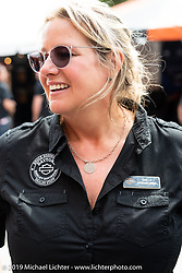 Destination Daytona Harley-Davidson's Shelly Rossmeyer during Daytona Beach Bike Week, FL. USA. Wednesday, March 13, 2019. Photography ©2019 Michael Lichter.
