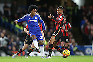 Willian of Chelsea in action. Barclays Premier league match, Chelsea v AFC Bournemouth at Stamford Bridge in London on Saturday 5th December 2015.<br /> pic by John Patrick Fletcher, Andrew Orchard sports photography.