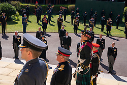 The Prince of Wales, The Duke of Cambridge, The Princess Royal, The Earl of Snowdon, Peter Phillips, The Duke of York, Vice Admiral Sir Timothy Laurence, The Duke of Sussex and The Earl of Wessex wait at the West Steps outside St George's Chapel, Windsor Castle, Berkshire, ahead of the funeral of the Duke of Edinburgh. Picture date: Saturday April 17, 2021.