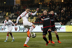 (L-R), Andrija Novakovich of Telstar, Stephen Warmolts of Helmond Sport during the Jupiler League match between Telstar and Helmond Sport at the Tata steel stadium on March 09, 2018 in Velsen-Zuid, The Netherlands
