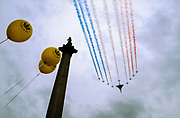 The RAF Red Arrows and supersonic jetliner, Concorde fly in formation over Nelson's Column in Trafalgar Square during Queen Elizabeth the Second's Golden Jubilee celebrations in London. England, United KingdomTuesday June 4th 2002
