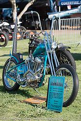 Ringo Chop Shop's Martin Carlgren's 1947 SRM (Swedish Racing Motor) completely handbuilt (including the motor) 1,000 cc Husqvarna style chopper at the Born Free 9 Motorcycle Show at Oak Creek Ranch. Silverado, CA. USA. Saturday June 24, 2017. Photography ©2017 Michael Lichter.