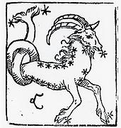 Zodiac sign of Capricorn. From 'Sphaera mundi', Strasburg, 1539