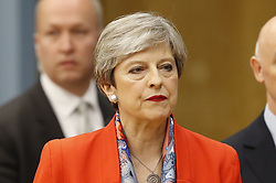 © Licensed to London News Pictures. 09/06/2017. Maidenhead, UK. Prime Minister Theresa May at her constituency count at the Magnet Leisure Centre in Maidenhead. Polling stations are closing at 10pm with TV exit poll predicting a hung parliament. Photo credit: Peter Macdiarmid/LNP